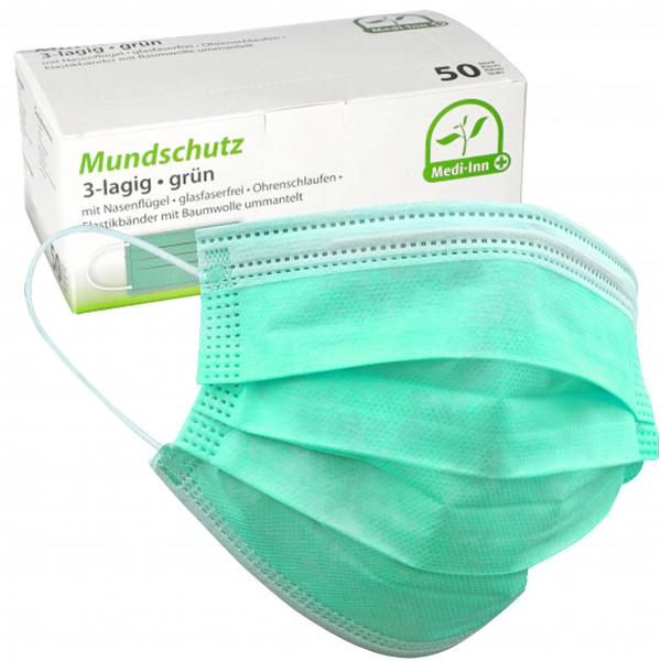 MEDI-INN Mundschutz 3-lagig Typ II R grün